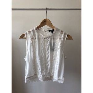 White top with lace design